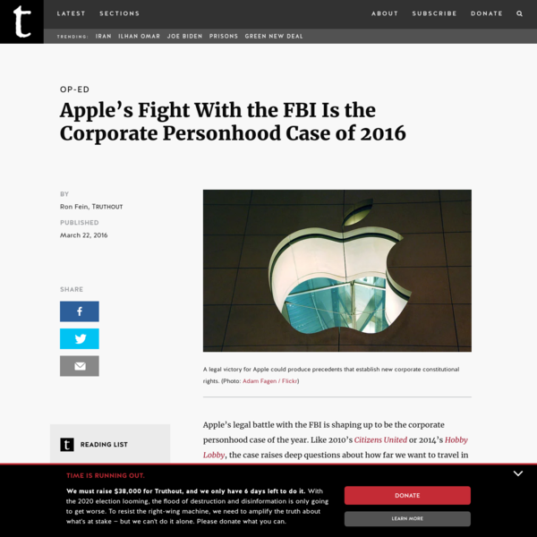 Apple's Fight With the FBI Is the Corporate Personhood Case of 2016
