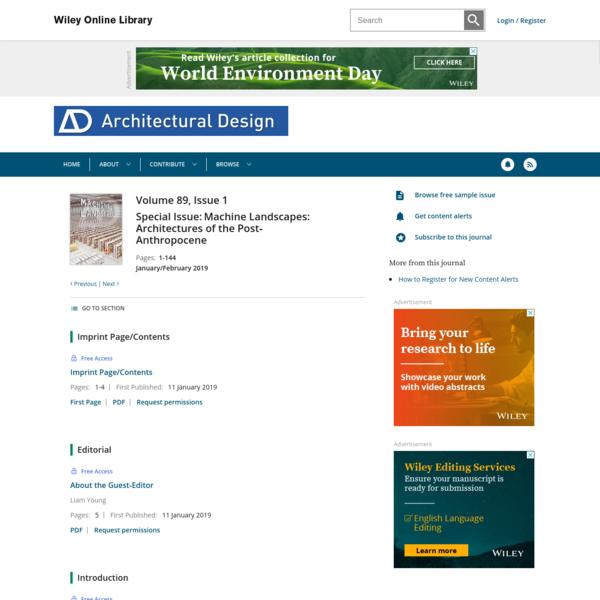 Machine Landscapes: Architectures of the Post‐Anthropocene: Architectural Design : Vol 89 , No 1