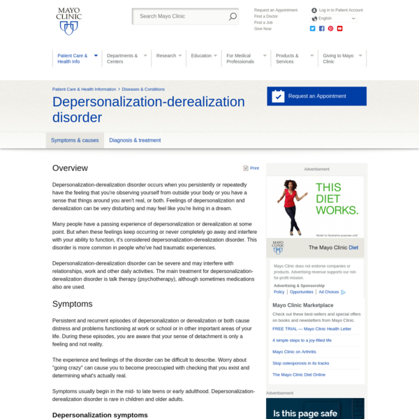 Depersonalization-derealization disorder - Symptoms and causes