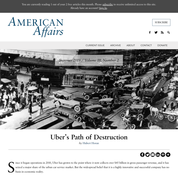 Uber's Path of Destruction - American Affairs Journal