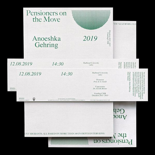 Pensioners on the move by Anoeshka Gehring, cover and invitation/bookmark #print #paper #book
