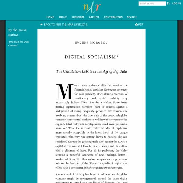 Evgeny Morozov, Digital Socialism?, NLR 116/117, March-June 2019