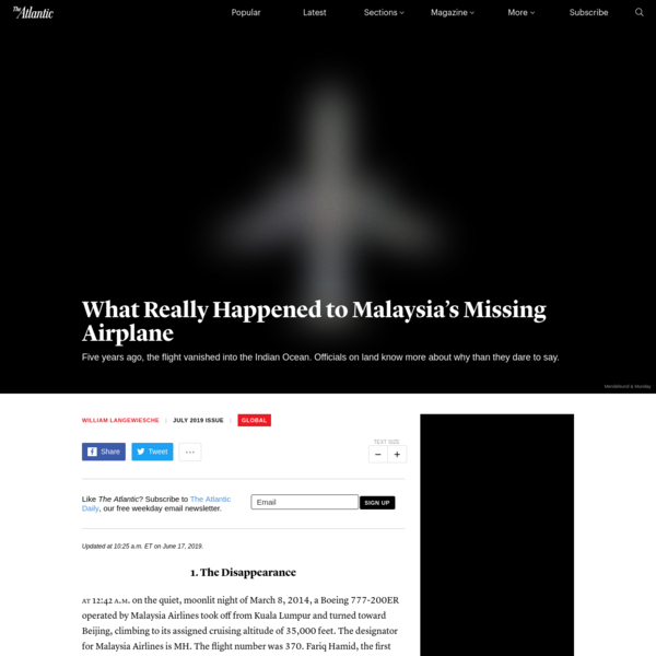 Malaysia Airlines Flight MH370: Where Is It? - The Atlantic