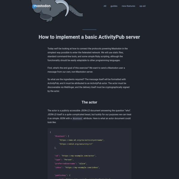 How to implement a basic ActivityPub server