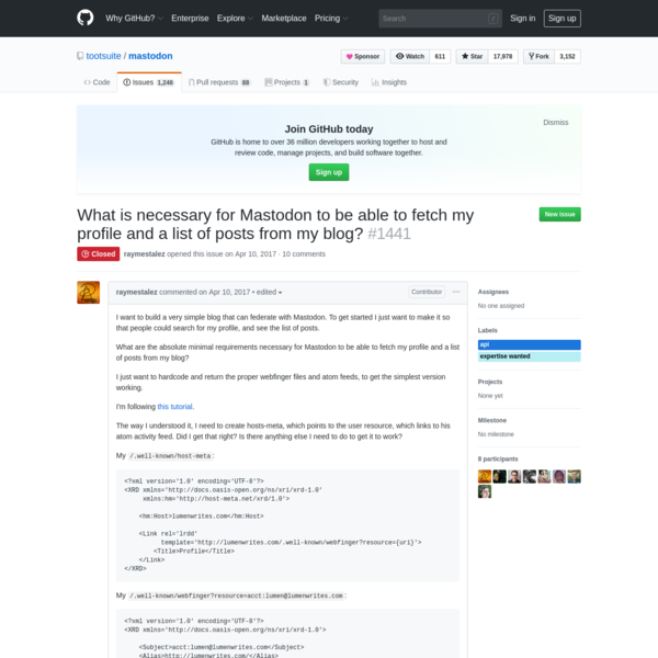 What is necessary for Mastodon to be able to fetch my profile and a list of posts from my blog? · Issue #1441 · tootsuite/ma...