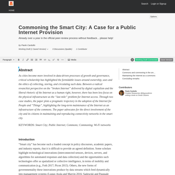 Commoning the Smart City: A Case for a Public Internet Provision