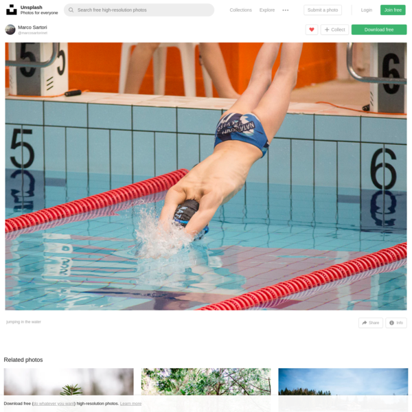 Jumping in the water | HD photo by Marco Sartori (@marcosartorinet) on Unsplash