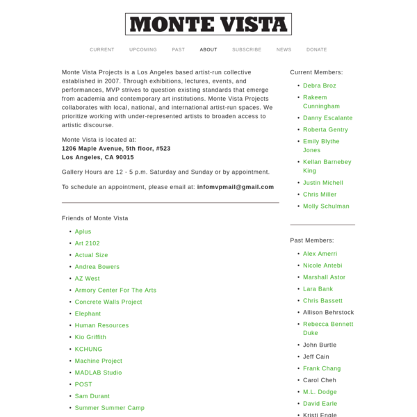 Info/Links - MONTE VISTA PROJECTS