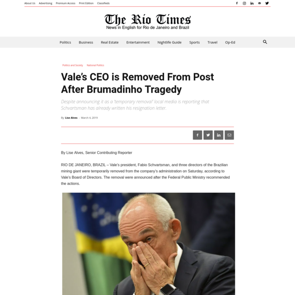 Vale's CEO is Removed From Post After Brumadinho Tragedy | The Rio Times