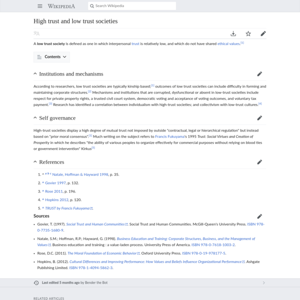 High trust and low trust societies - Wikipedia