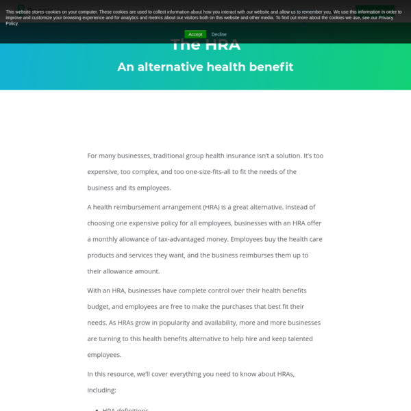 The HRA: an alternative health benefit