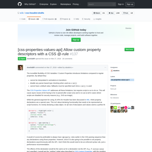 [css-properties-values-api] Allow custom property descriptors with a CSS @-rule · Issue #137 · w3c/css-houdini-drafts