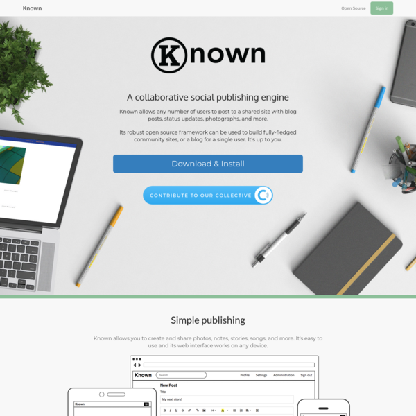 Known: social publishing for groups and individuals
