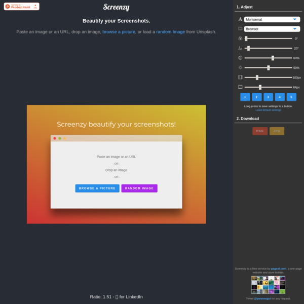 Screenzy - Beautify your Pictures and Screenshots Online