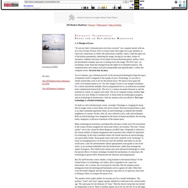 "Svetlana Boym, ""Off-Modern Manifesto"""