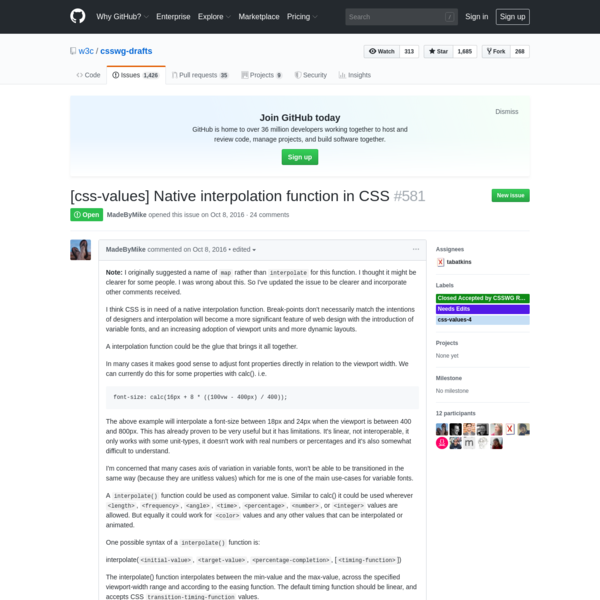 [css-values] Native interpolation function in CSS · Issue #581 · w3c/csswg-drafts
