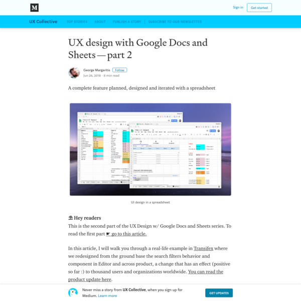 UX design with Google Docs and Sheets (part2)