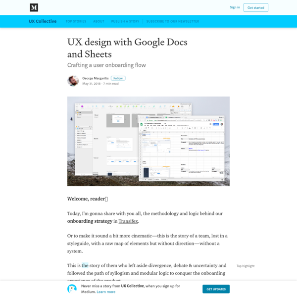 UX design with Google Docs and Sheets