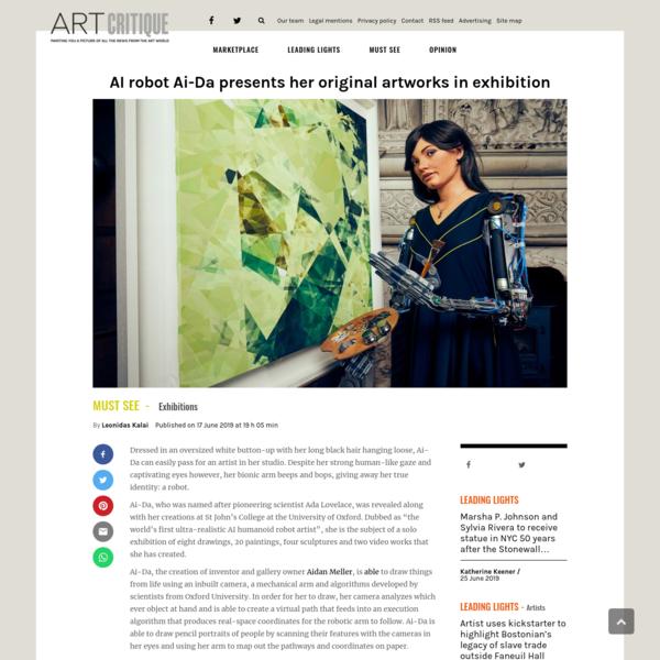 AI robot Ai-Da presents her original artworks in exhibition