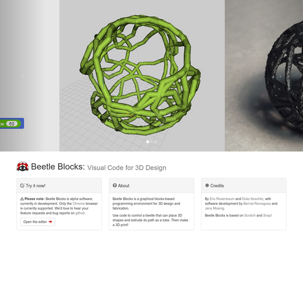 Beetle Blocks is a graphical blocks-based programming environment for 3D design and fabrication.
