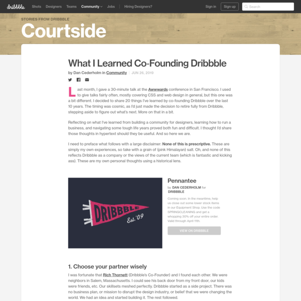 What I Learned Co-Founding Dribbble