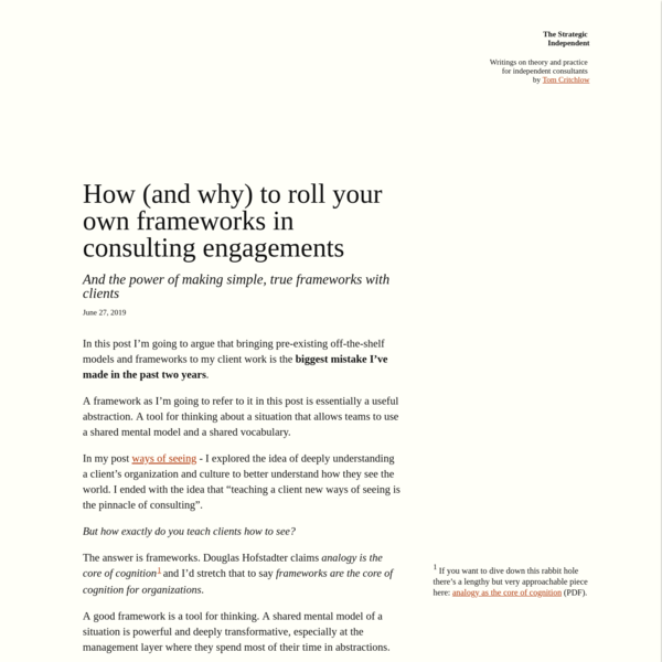 How (and why) to roll your own frameworks in consulting engagements