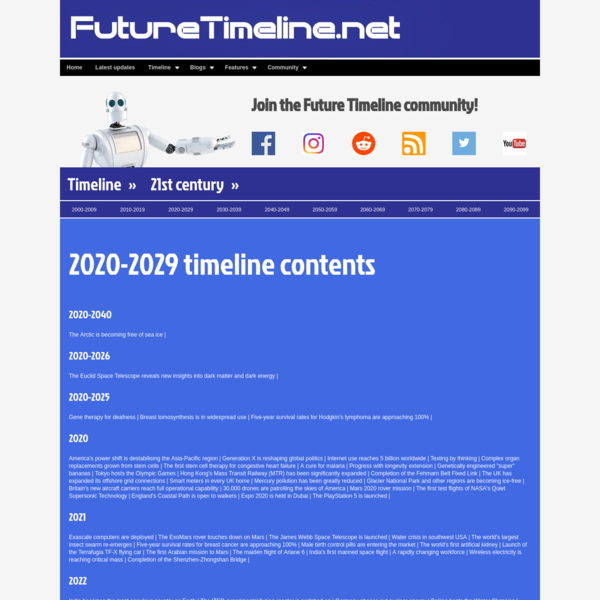 2020-2029 Future Timeline | Timeline | Technology | Singularity | 2020 | 2050 | 2100 | 2150 | 2200 | 21st century | 22nd cen...