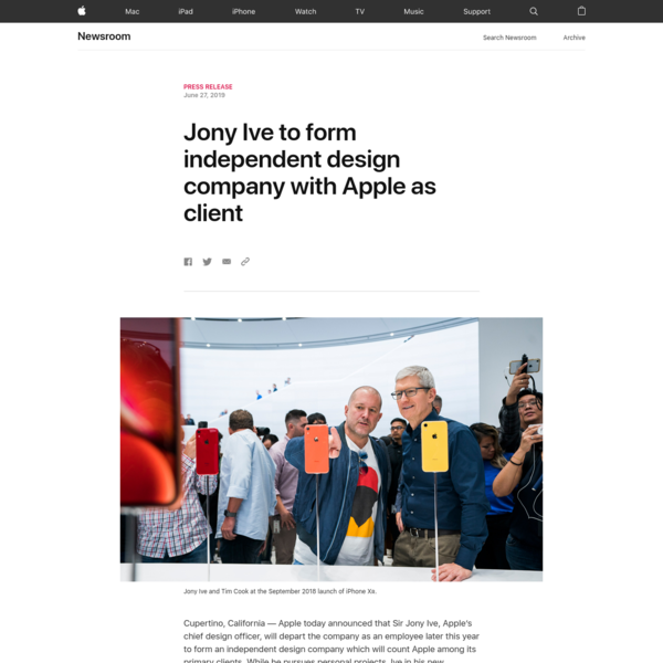 Jony Ive to form independent design company with Apple as client