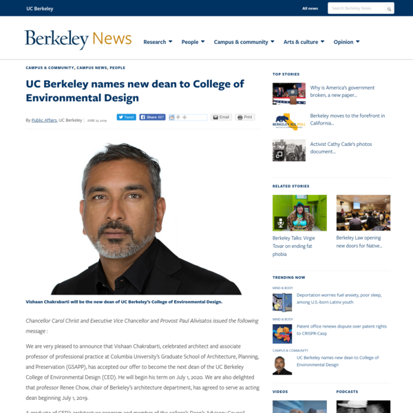 UC Berkeley names new dean to College of Environmental Design | Berkeley News