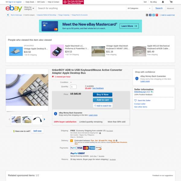 tinkerBOY ADB to USB Keyboard/Mouse Active Converter Adapter Apple Desktop Bus | eBay
