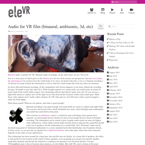Audio for VR film (binaural, ambisonic, 3d, etc)