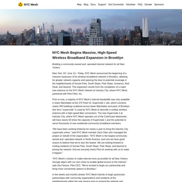 NYC Mesh Begins Massive, High-Speed Wireless Broadband Expansion in Brooklyn