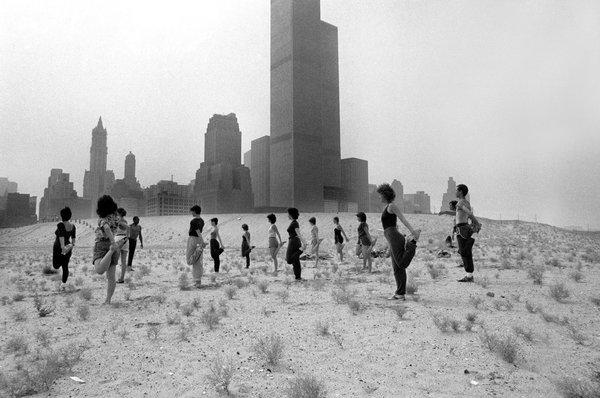 Bill T. Jones and dancers, Battery Park City site, 1980. Dith Pran.