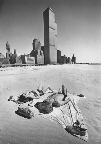 Urban sunbathers, Battery Park City site, 1977. Fred R. Conrad.
