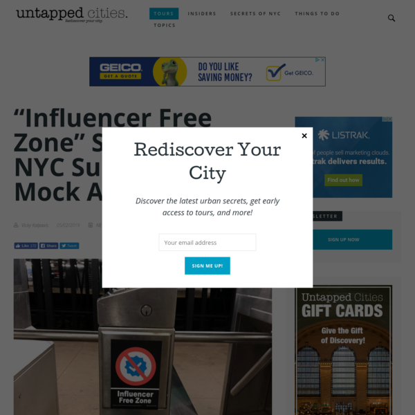 """""""Influencer Free Zone"""" Stickers in NYC Subway Part of Mock Ad Campaign 