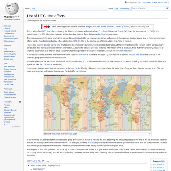 List of UTC time offsets - Wikipedia