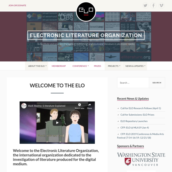 Electronic Literature Organization - To facilitate and promote the writing, publishing, and reading of literature in electro...
