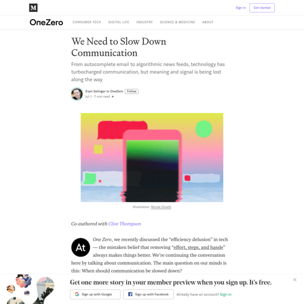 We Need to Slow Down Communication - OneZero