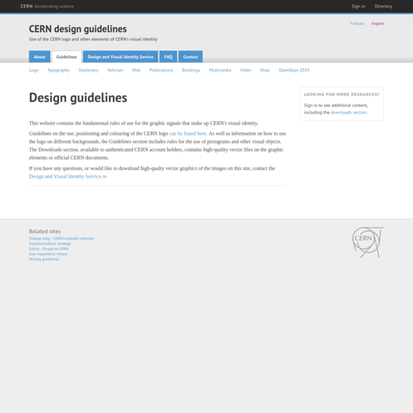 CERN design guidelines | Use of the CERN logo and other elements of CERN's visual identity