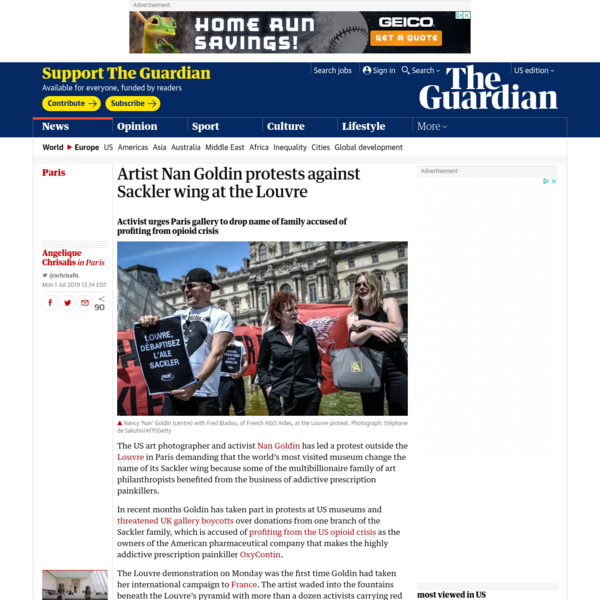 Artist Nan Goldin protests against Sackler wing at the Louvre