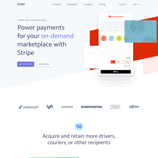 Stripe for marketplaces | Power payments and payouts for your marketplace