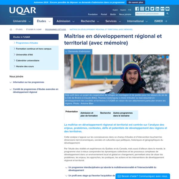 Maîtrise en développement régional et territorial (avec mémoire)