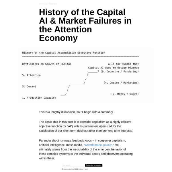 History of the Capital AI & Market Failures in the Attention Economy