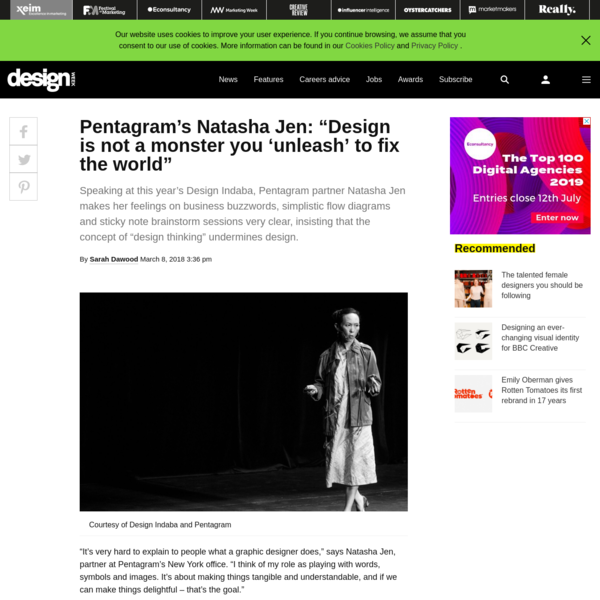"Pentagram's Natasha Jen: ""Design thinking is extremely dangerous"""
