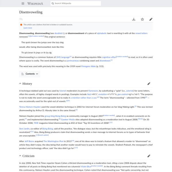 Disemvoweling - Wikipedia