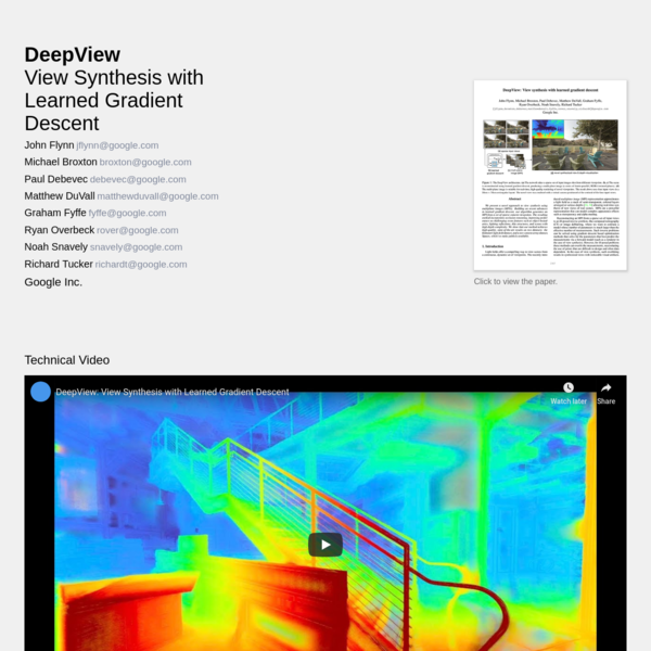 DeepView: View synthesis with learned gradient descent