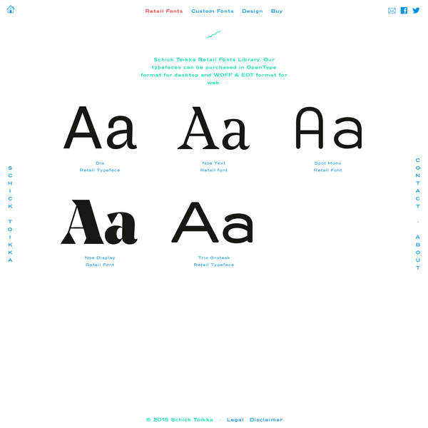 Schick Toikka Retail Fonts Library. Our typefaces can be purchased in OpenType format for desktop and WOFF & EOT format for web.