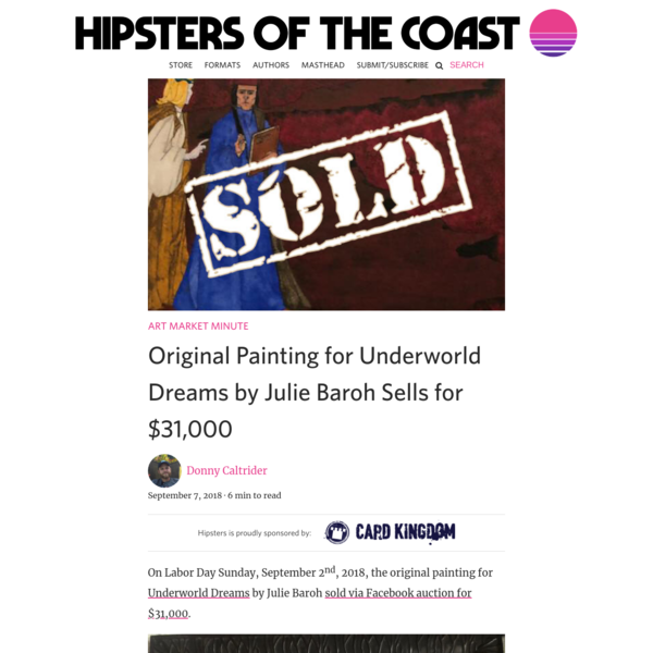 Original Painting for Underworld Dreams by Julie Baroh Sells for $31,000 - Hipsters of the Coast