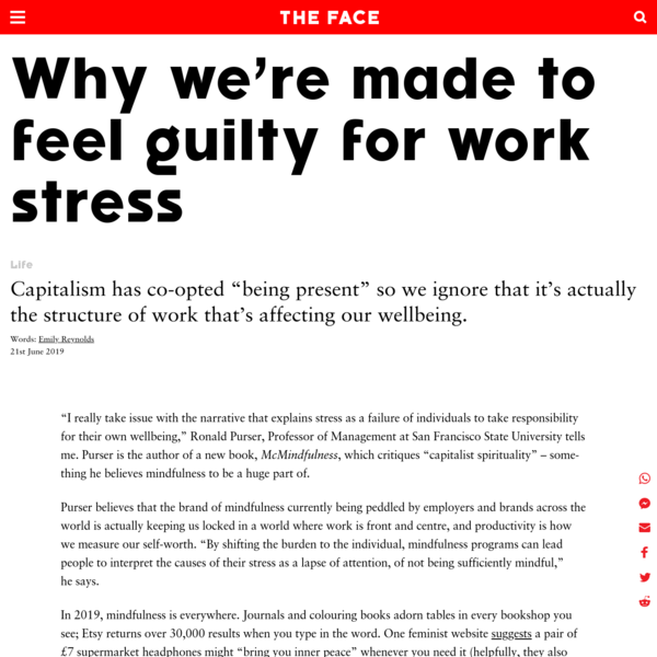 Why we're made to feel guilty for work stress