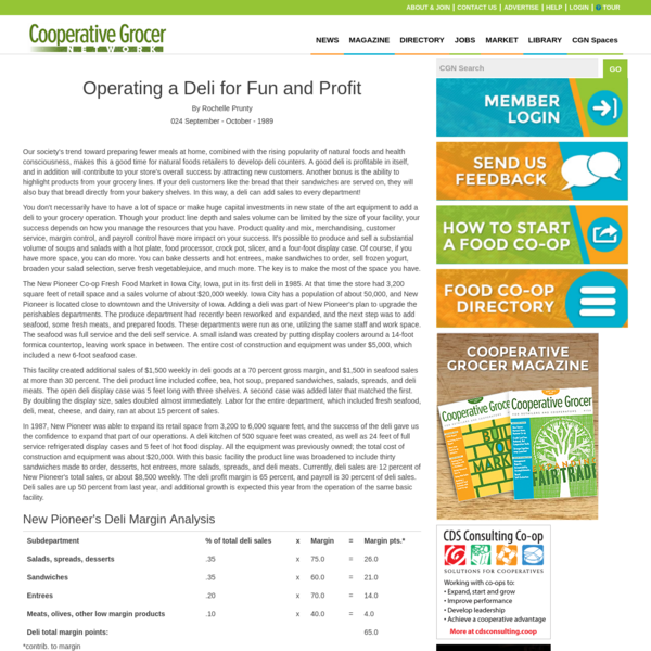 Operating a Deli for Fun and Profit | Co-op Grocer Network